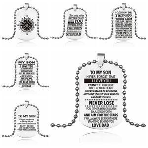 To My Son kızı Sevgi DAD Salkım İçin Erkekler Kadınlar Paslanmaz çelik köpek etiketi kolye boncuk zincirleri Moda ailesi Takı Hediye