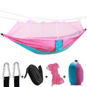 Parachute Hammock Outdoor Mosquito Net Hammocks 2 Persons Hanging Bed Camping Hunting Hamac Garden Swings 12 Colors Optional CYL-YW1008
