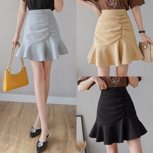 Fashion Girl Saia Ruffles plissadas Fishtail Skirt Verão Outono Saias