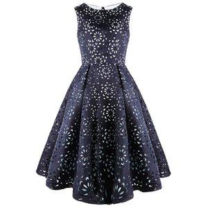 Angel-моды женщин Повода Hollow цветочный Cut Out Mini-Line Элегантный платье Royal Blue 489