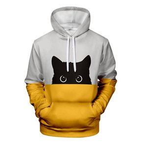 WAMNI Black Cat Hoodie 3D Print Male Autumn Pullover Pink Blue Patchwork Stylish Female Warm Stylish Pussy Hoodies Sweatshirts