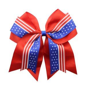 علم الولايات المتحدة الأمريكية ذيل حصان حامل 8INCH المشجعين BOWKNOT مطاطا العلاقات الشعر إكسسوارات الشعر الرباط القوس الدائري الشعر مجوهرات هدية عيد الميلاد