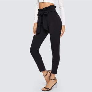 Pantalon élégant noir femmes Paperbag taille maigre pantalon avec ceinture bureau dame ol travail 2019 taille haute femmes pantalons