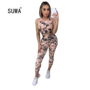 Suwa 여름 넥타이 염료 Print O Neck 민소매 탱크 탑 및 Skinng 슬림 바지 Streetwear 캐주얼 여성 2 개 세트 2 색 T200605
