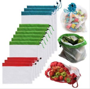 Storage Drawstring Bags Reusable Fruit Vegetable Mesh Bags Portable folding storage bag Washable Eco Friendly Shopping Pouch CLS462