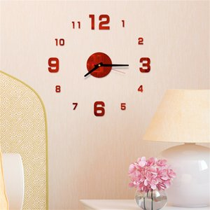 1pcs moderne Grande Horloge murale Miroir 3D Sticker Unique Big Number Montre mur DIY Art Mural Stickers Décor