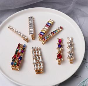 Diamantes de imitación de cristal de lujo coloridos horquillas geométricas redondas ovaladas pedrería pinzas para el cabello accesorios de joyería para el cabello T429