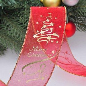 Christmas Bow Red Cute Christmas Ribbon Gift Box Printed Decoration Ribbon Christmas Bows DIY Home Decoration