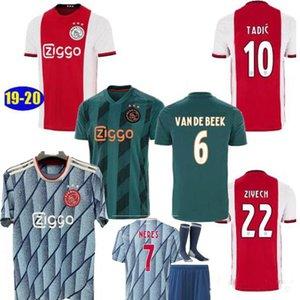 TAILLE S-2XL 2020 maison AJAX rouge maillot NERES soccer hommes bleus 20 21 DE Ligt ZIYECH TADIC kit pour les enfants de football uniformes chemises 2021