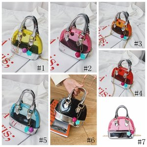 7Styles Kids Transparent Shoulder Bag Candy Color PVC Handbags Fashion Baby Girls Mini Priness Purses Snacks PU Coin Bags GGA3543-2