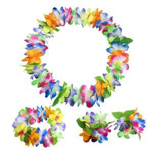 Artificial Hawaiian Party Decorations Garland Bracelet Headband Necklace Flower Leis Flowers DIY Wreath Birthday Party Decor