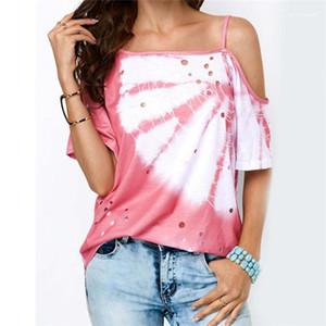 Kısa Kollu Tshirt Bayan Yaz deigner Giyim Gevşek acısını kemer Cacual Tişört Düzensiz Hollow Out Baskılı