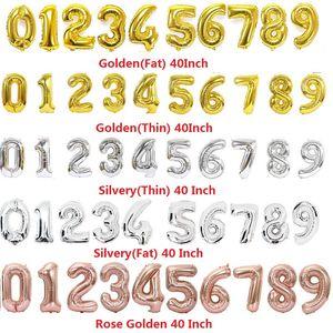 40 İnç Helyum Balon uçmak Numara Altın Gümüş Gül Şişme Balon Doğum Düğün Dekorasyon Olay Parti L192 Şeklinde
