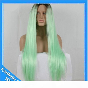 L Cosplay Wigs Ombre Mint Green Long Straight Synthetic Lace Front Wig Heat Resistant Glueless Two Tone Black Light Green Hair For Blac