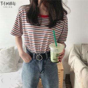 2020 T Shirt Women Vintage Striped Classic Bottom T Shirts For Harajuku T Shirt Summer Casual Short Sleeve Female Top Tee