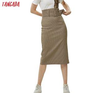 Tangada fashion women plaid skirt vintage work office ladies skirt with belt mujer retro mid calf skirts BE175 Y200704