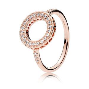 18K Rose CZ Diamante de Halo Ring set Box Original de novas mulheres para Pandora real de casamento de luxo 925 Moda Anel presente