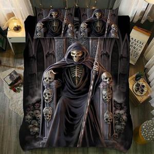 Dropshipping King Size Bed 3D Sugar skull Funda nórdica Funda de almohada AU Queen Judgement_Skull Juego de cama The undead Sickle Throne