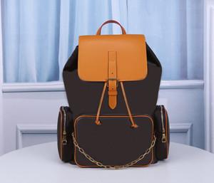 Esporte Hot Fashion Designer de Luxo Mochila Homens Mochilas Brown L Outdoor Carta Bag Couro Homens Mulheres mochila de viagem mochila grande