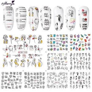 Monja12 Estilos Nail Art Etiqueta de transferencia de agua Animal Rostro humano Inglés Imagen abstracta Control deslizante de transferencia de DIY para decoración de manicura