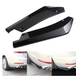 2x Car Universal Carbon Fiber Rear Bumper Spoiler Canards Diffuser Scratch Anti-crash Protector Lip Wrap Angle Splitters Black
