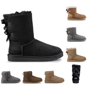 UGG Com meias de melhor designer de qualidade botas Austrália mulheres menina clássicas botas de neve bowtie inicialização pele arco curto tornozelo para o inverno preto vermelh