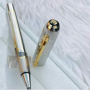 Haute qualité Dunhil classique tête ronde Clip clip avec balle et argent tréfilage baril de luxe Roller Ball Pen + Recharges + Cadeau En Peluche Poche