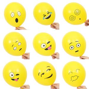 10 adet / takım Emoji Balonlar Gülen Yüz İfade Sarı Lateks Balonlar Parti Düğün Ballon Karikatür Şişme Topları