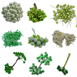 Mixed Green Artificial Stamen Flower Cherry Berries Bundle for Wedding Christmas Party DIY Gift Box Wreath Flower Decor Supplies