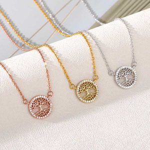 Tree of Life Crystal Zircon Round Small Pendant Necklace Gold Chain Choker Necklaces For Women Jewelry Bijoux Collier