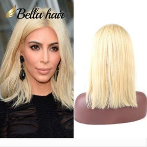 "613 Wig Human Hair Bob Wigs Full Lace Blonde Wigs Can Be Dyed Short Cut Bob Natural Straight 10""12"" Bella Hair"