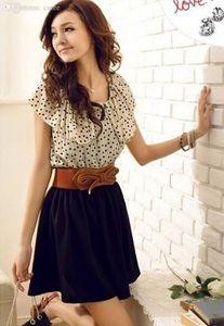 Оптово-Бич шифоновое платье женщин Короткие мини платья рукава многоточий платья Бальные платья для женщин Vestidos без ремня #Gofuly 0614