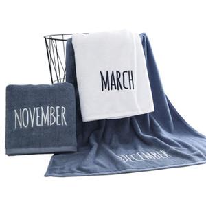 100% Algodão Toalhas Set toalha de rosto Toalha de banho 3 cores 12 meses Letters Bordado moderna casa de banho para adultos dos miúdos Toalha de cara