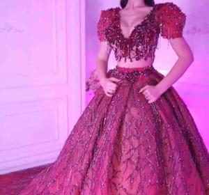 2020 maniche corte Prom abito con scollo a V della sposa del vestito da sera una linea vestiti Zipper raso moderni Prom