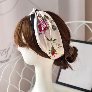 Concise Style Hair Bands for Women Summer Outdoor Breathable Sweat-absorbent Head Bands Flowers Printed Silk Head- dress
