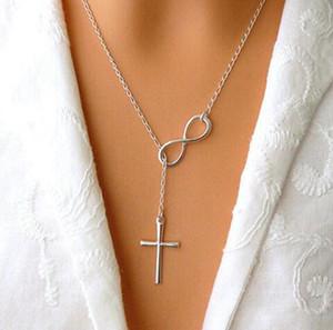 fortunato numero 8 fascino trasversale Collana maglia a catena CALDO Il modo all'ingrosso retro minimalista gioielli fai da te donne 876