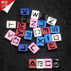 26 шт. полые металлические квадратные буквы слайд подвески красочные начальный алфавит слайдер для 8 мм кожаный сетчатый браслет брелок ожерелье