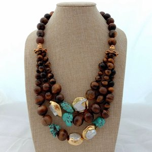 20 '' 3 Strands Keshi White Pearl Tigers Eye Stone Necklace