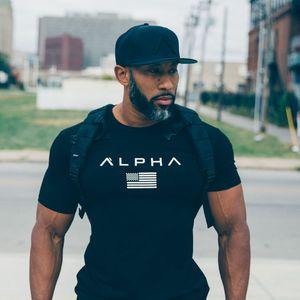 2019 Muscle Fitness Summer Men's Sports Running Exercise Pure Cotton Elastic Short Sleeve T-shirt gym fshirt