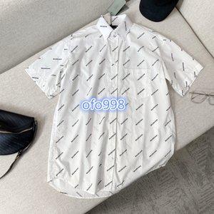 high end women girls t-shirt tops covered letter print short sleeve lapel neck blouse 2020 runway fashion design luxury vintage tee dresses