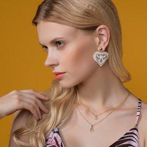 2019 New Fashion Euramerican Ladies Hollow Lace Earrings Elegante cuore di fascino ciondola gli orecchini per le donne brincos gioielli da sposa