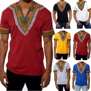 Africanos tribales camisetas Hombres dashiki Imprimir sucinta Hippie tema