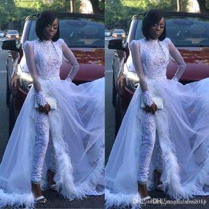 Pena de luxo branco Mulheres Jumpsuit com trem destacável alta Neck Lace Appliqued cristal manga comprida vestido de baile Formal Evening vestidos de 4273
