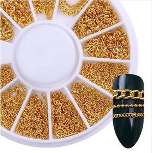 Decorazione per nail art in metallo dorato Catena perline in metallo dorato Linea Bone Snake Bone Manicure fai da te Decorazione di arte del chiodo in ruota 1 Scatola