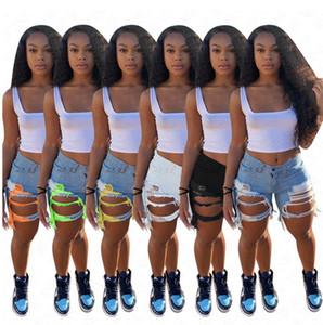 D62807 Agujeros mujeres de moda Denim Jean Pantalones cortos apenado de estiramiento lavado de mezclilla pantalones cortos de verano Cut Off raído dobladillo del motorista pantalones cortos Azul Blanco Negro