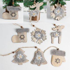 Natale in legno abbellimenti dell'albero di Natale a sospensione rustiche albero di Natale Decorazioni calzini appesi Natale Decorazione DHL WX9-1745
