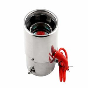 Auto Luz roja Llameante Coche Tubo de escape Acero inoxidable Cola de garganta Silenciador Coche LED Evita colisiones en el extremo posterior Durable