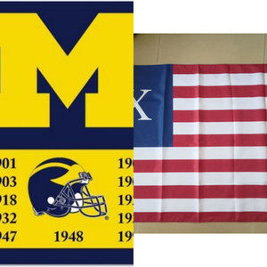 University Of Michigan Wolverines Championship Vertical Flag Banner 150cm*90cm 3*5ft Polyester Custom Banner Sports Decorative Flag