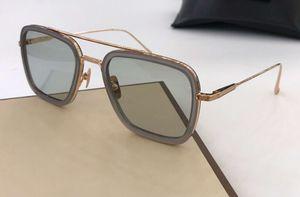 Lentes azuis o quadrado Sunglasses Rose Gold Quadro Men Sunglasses Óculos de sol Shades New com caixa
