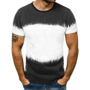 Hommes Multicolor Bloc Imprimé Bas Haut Tee Homme Hiphop Streetwear manches courtes T-shirt de remise en forme Big Taille 3XL Dropshipping